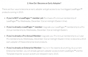 LeadPages Early Adopters Program