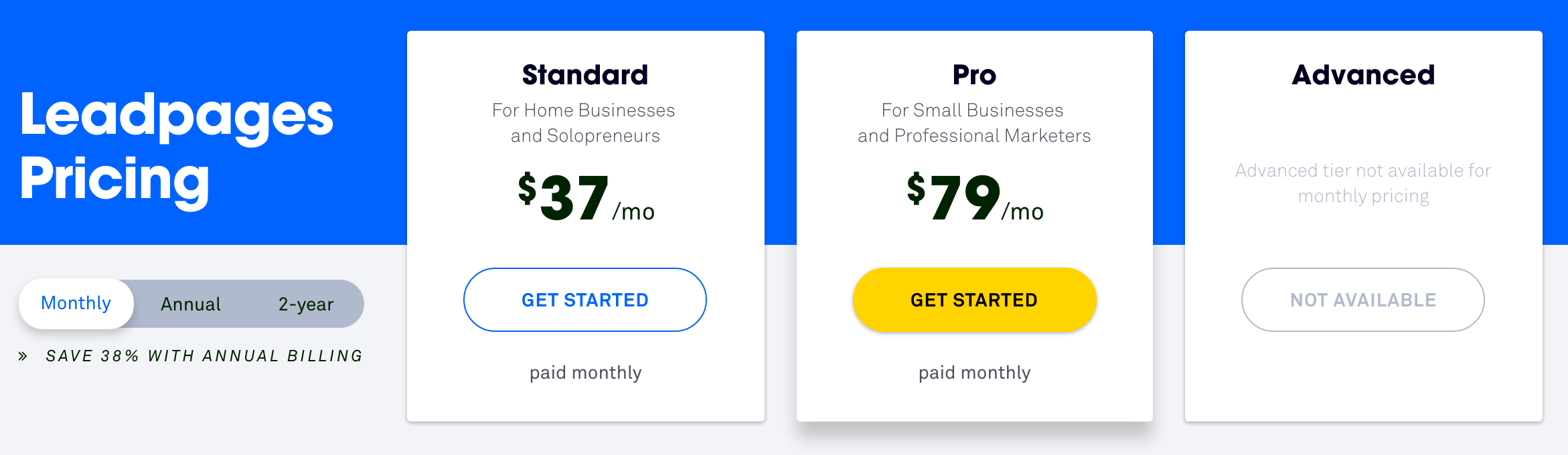 LeadPages Pricing Monthly