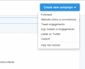 Twitter New Campaign Creation