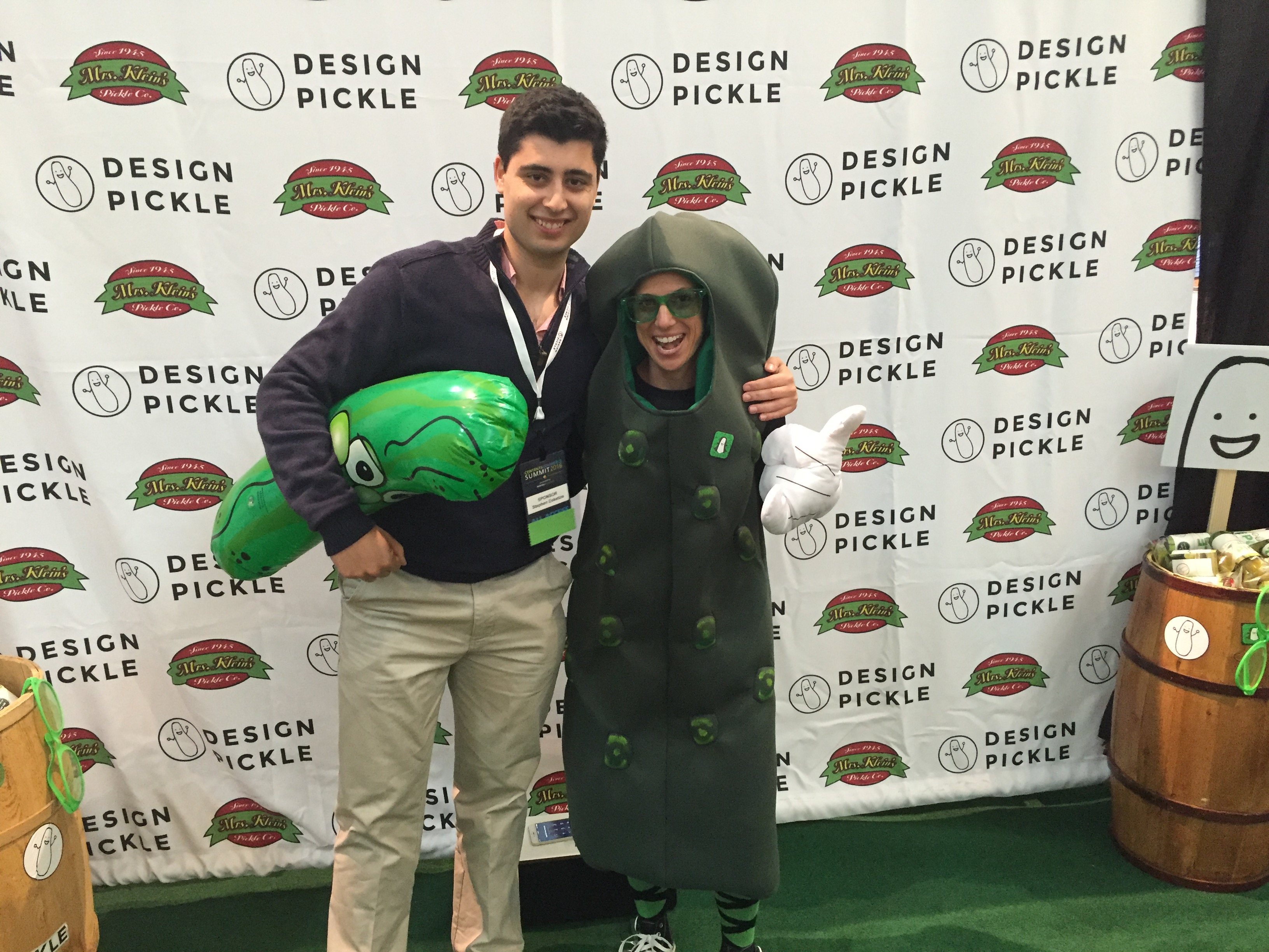 Hanging out at the Design Pickle booth