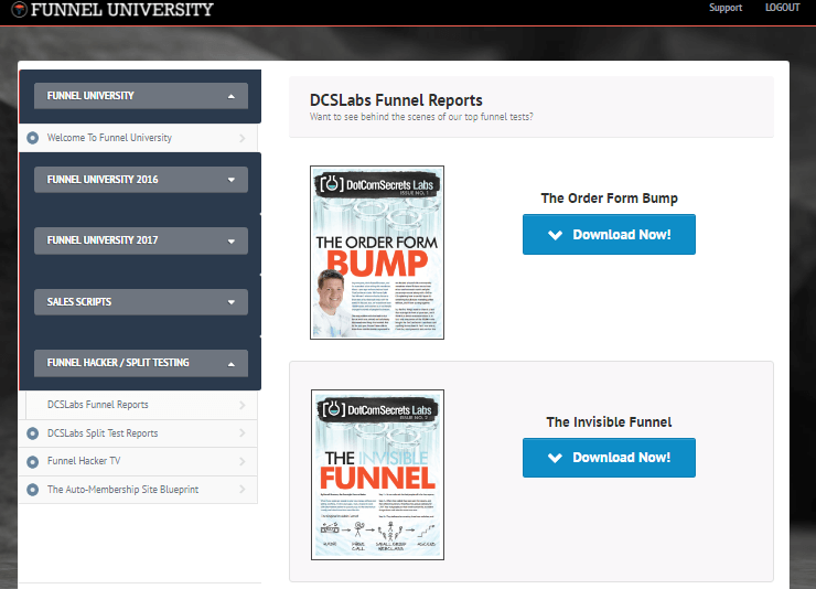 funnel university review- dashboard